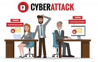 illustrated office workers experiencing cyber attack with warnings that files have been encrypted