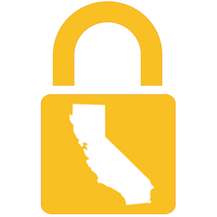 yellow lock image with california shape imposed