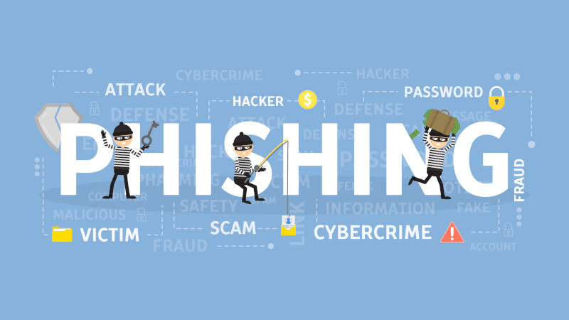 Phishing spelled out with three burglar type illustrated figures