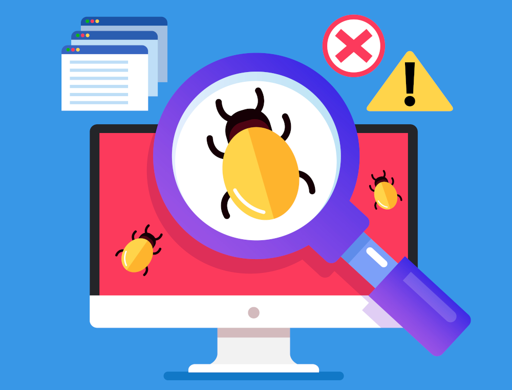 magnifying glass focused on bug in front of a desktop screen. critical bug.